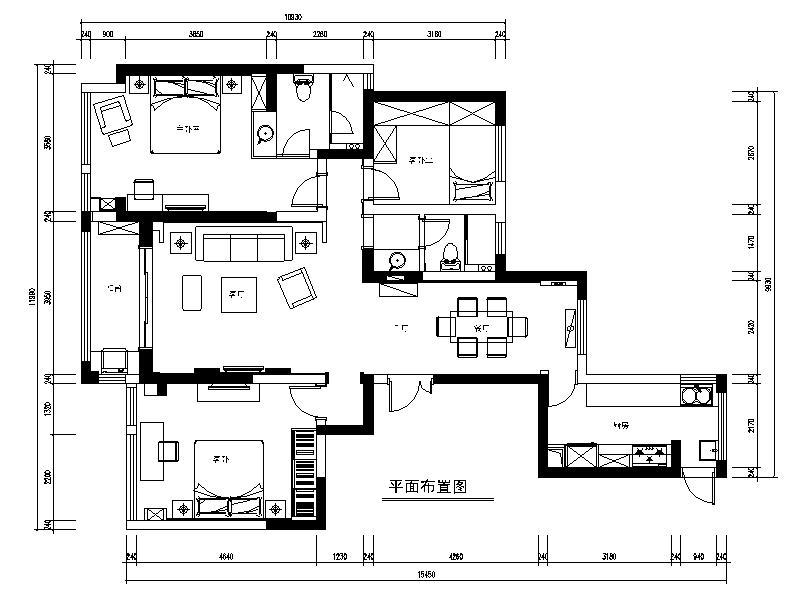 [常熟]现代奢华三室两厅公寓设计平面图