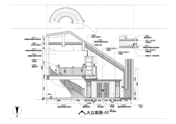 美式-复地爱伦坡别墅室内设计方案图(含效果图,施工图)-客厅立面图CAD预览图