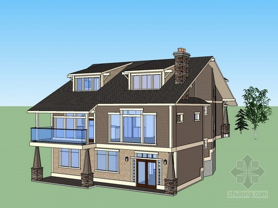 欧式坡地别墅sketchup模型下载