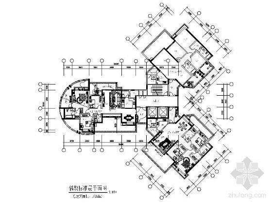 U型标准层户型图资料下载-房地产多个标准层户型图