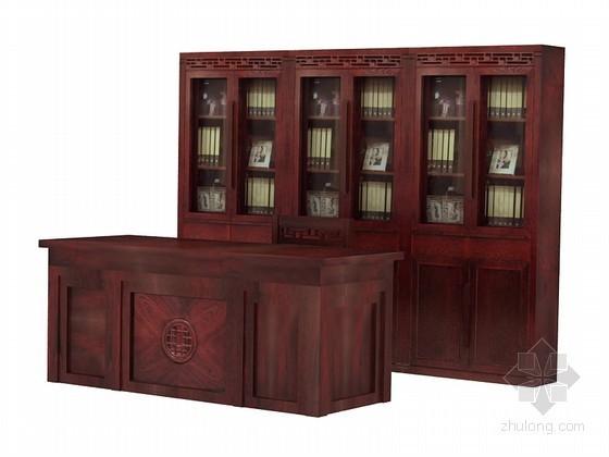 中式书柜3D模型下载