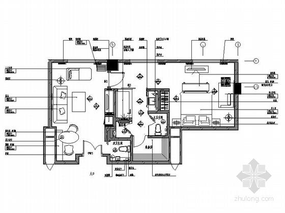 [重庆]现代简约四星级酒店B户型行政套房室内设计施工图