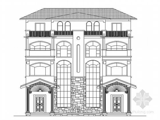 某四层双拼别墅建筑方案图