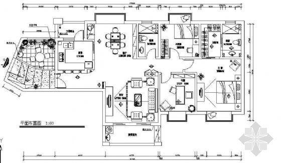 三房两厅、带入户花园的施工图