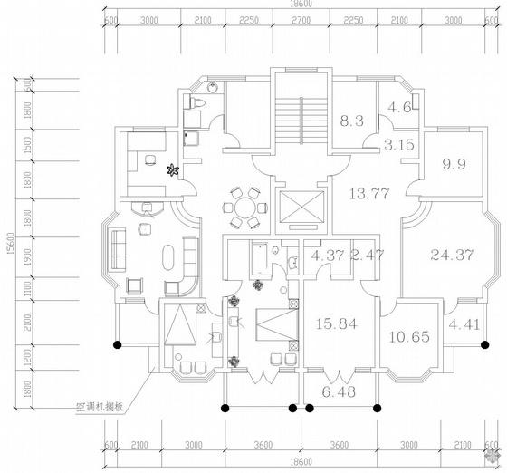 板式高层一梯二户户型图(118/118)