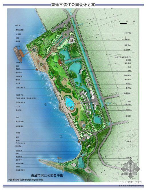 江苏南通某滨河公园景观设计总平面