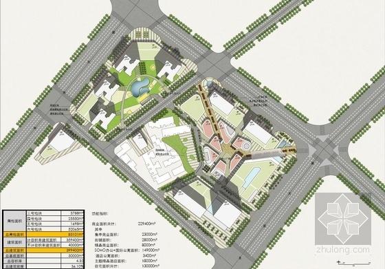 [武汉]超高层一梯四户塔式花园住宅楼建筑设计方案文本(含两套方案)-超高层一梯四户塔式花园住宅楼建筑总平面图