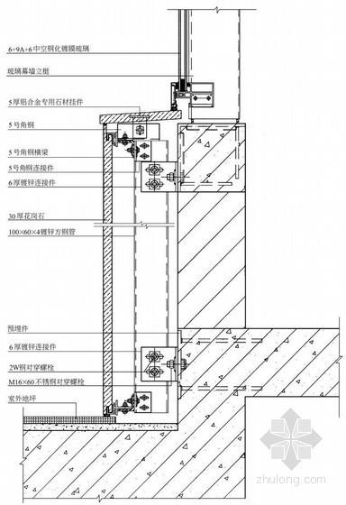 干挂花岗石幕墙底部收口节点详图
