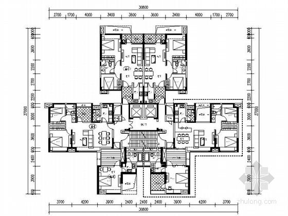 [万科户型]一核六户高层住宅户型平面图(404平方米)