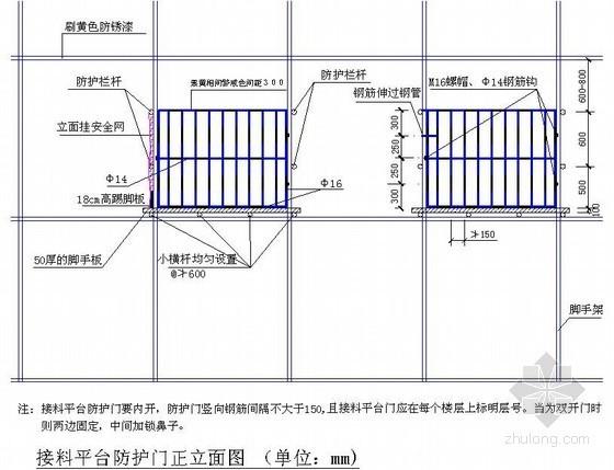 建筑工程卸料平台防护门正立面图