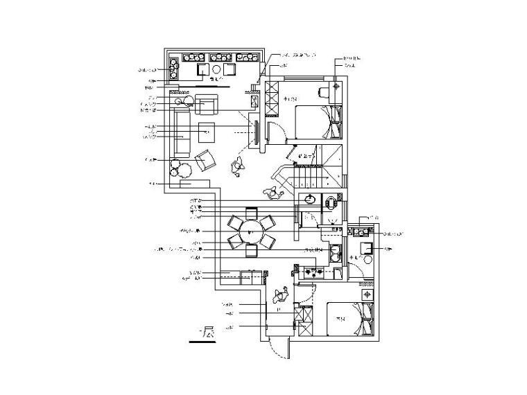 田园风格复式楼设计CAD施工图(含效果图)平面图