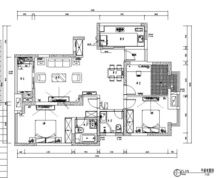 现代简洁名仕花园住宅设计施工图(附效果图)_1
