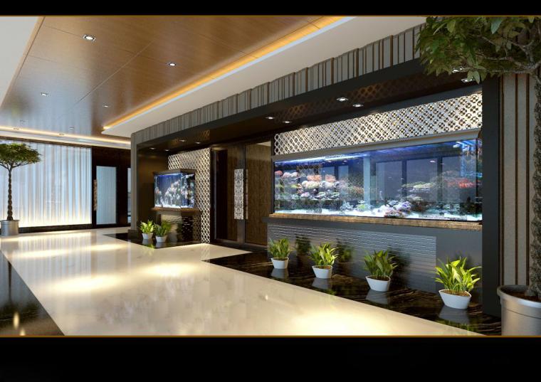[山东]混搭--黄海城市花园七层办公平面装修施工图+效果图-6