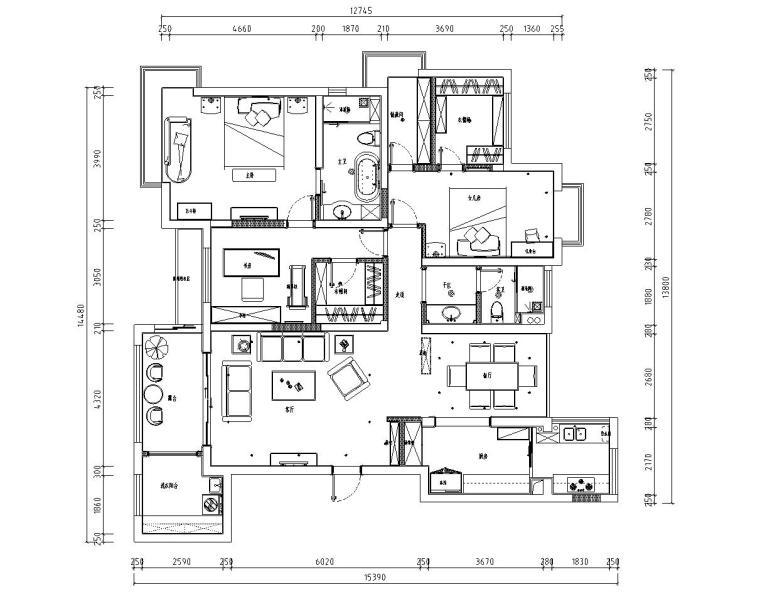 欧式风格阳光国际样板房详细施工图设计