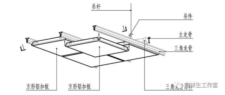 室内设计——常规金属类材料顶棚装饰装修构造图例