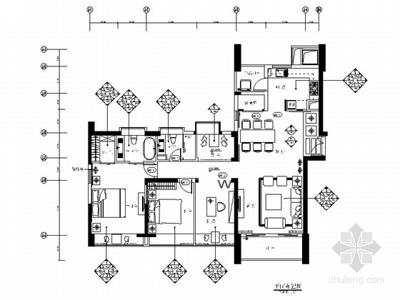 [厦门]典雅风情三居室样板房装修设计施工图(含效果)