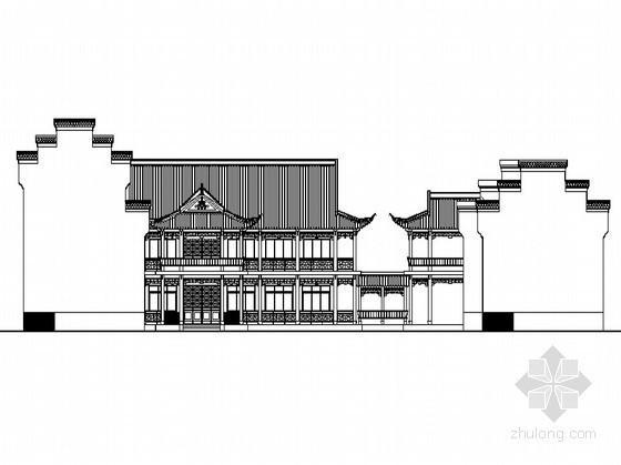 [徽派]某三层仿古茶馆会所建筑方案图