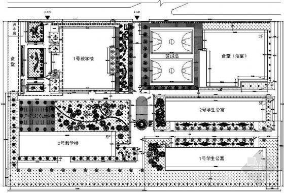 某中学校园绿化设计平面图