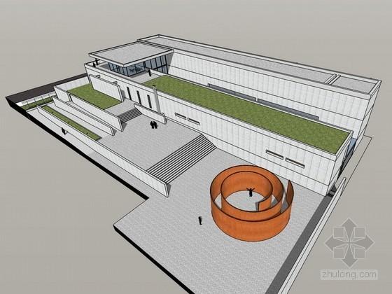 普利策基金会美术馆SketchUp建筑模型