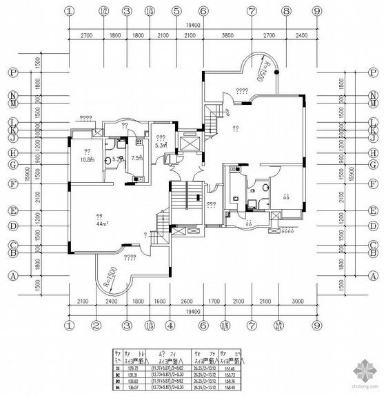 板式高层一梯二户有跃层户型图(151/154)
