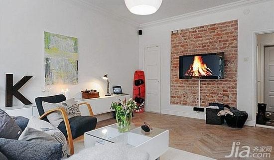 客厅背景墙也爱耍大牌你家客厅hold住吗?-裸露的红砖成为天然的背景墙,这样的客厅背景墙体现出乡村的朴素质感,也符合简约的轻生活特色。