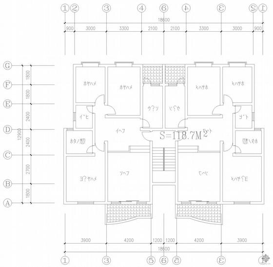 板式多层一梯二户户型图(119/119)