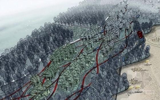 [山东]浪漫渔文化城市滨海地区景观规划设计方案(含四个设计方案)-鸟瞰图