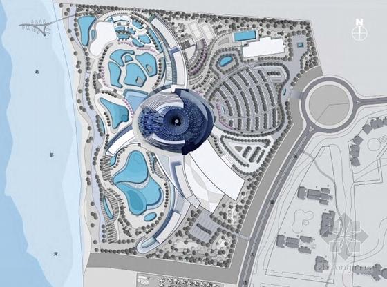 [海南]八爪鱼六星级酒店建筑设计方案文本(国际著名事务所)-现代风格主题酒店建筑设计分析图