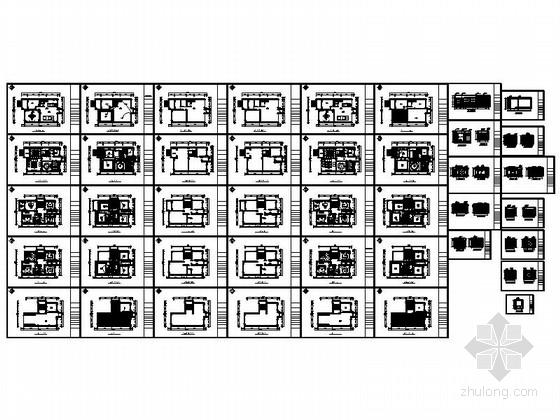 [上饶]商业中心区新中式四层别墅装修施工图资料图纸总缩略图