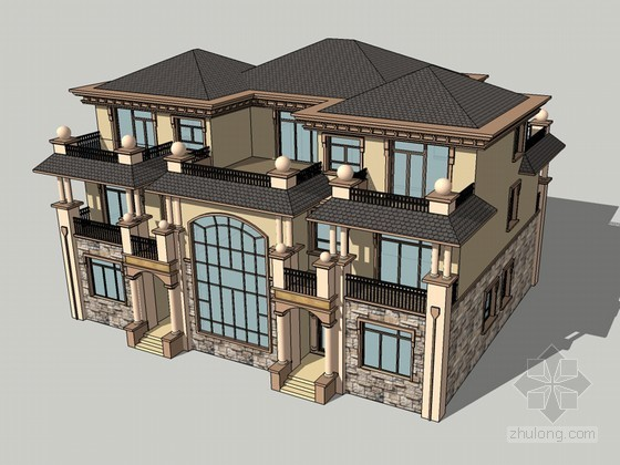 欧式豪华别墅SketchUp模型下载