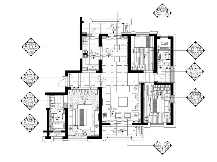 [武汉]现代极简风格三居室装修施工图(附材料表+灯具表)