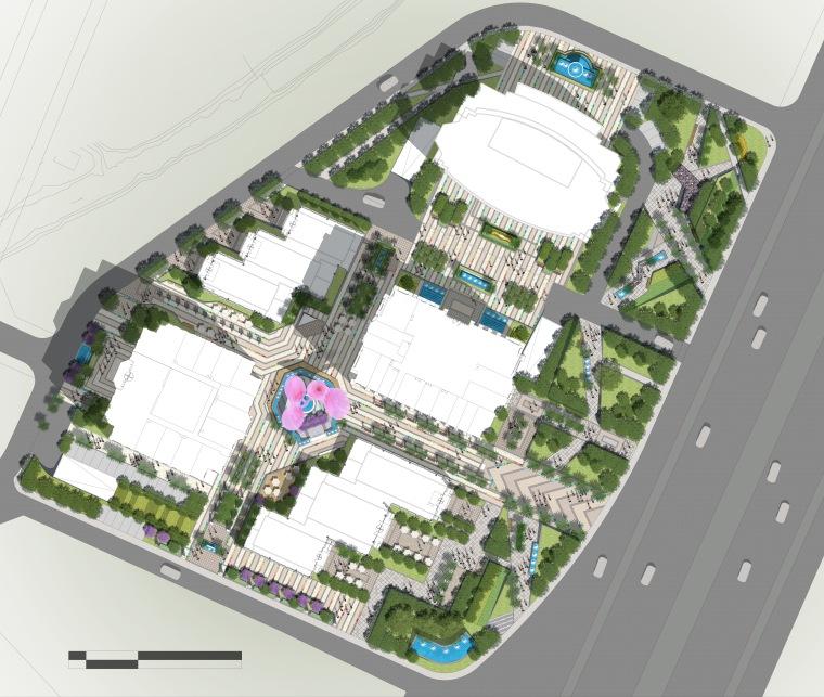 商业街景观彩色平面图PSD分层素材
