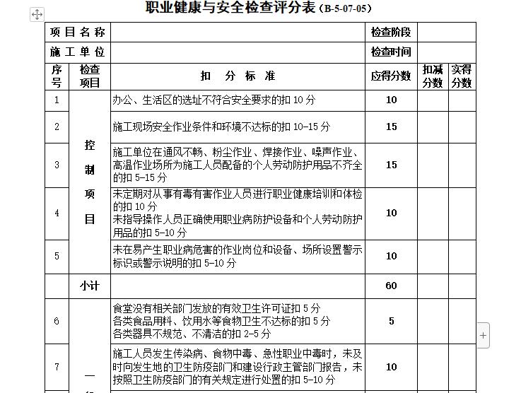 职业健康与安全检查评分表