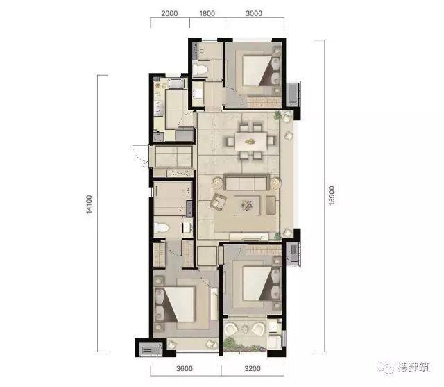 万科94㎡、104㎡、117㎡不同面积、一样的3房2厅2卫户型!_4