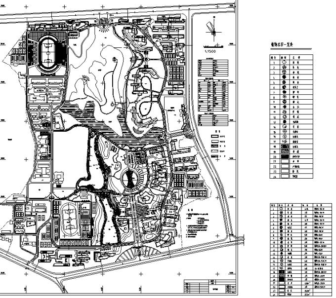 [合集]校园绿地景观规划设计CAD平面图41套-大学新校区景观规划平面图