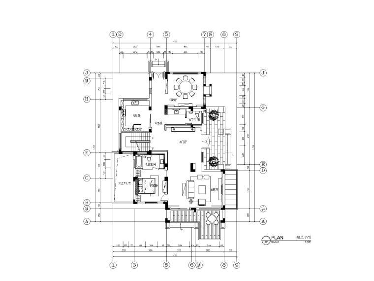 全套别墅样板房室内装饰施工图(含效果图)