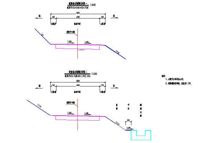 主干道道路工程施工图纸(共21张)-道路标准横断面图