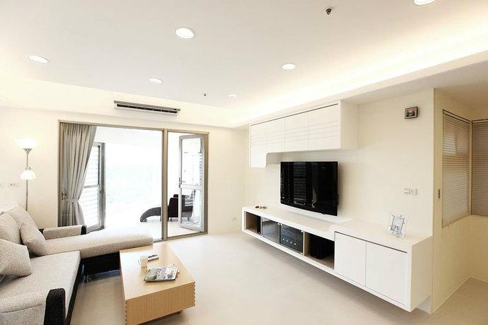 95平简约二居客厅背景墙电视墙设计效果图_2