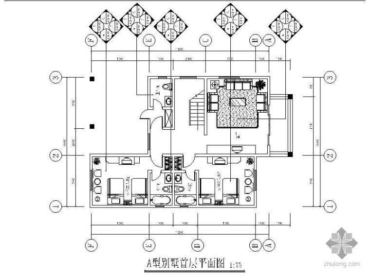 [广东]某电力双层别墅平面设计图