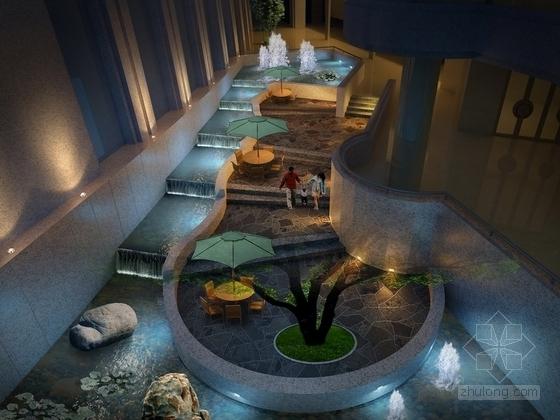 [贵州]新中式超五星级高端酒店下沉花园效果图