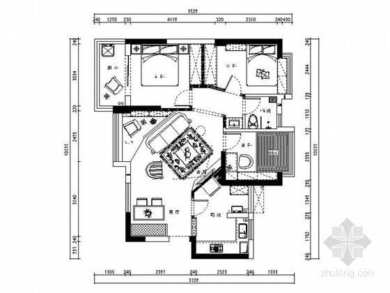 精品托斯卡纳地中海风格三居室装修室内设计施工图(含效果)