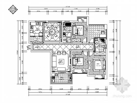 [浙江]唯美精致欧式风格三居室装修施工图(含效果图)