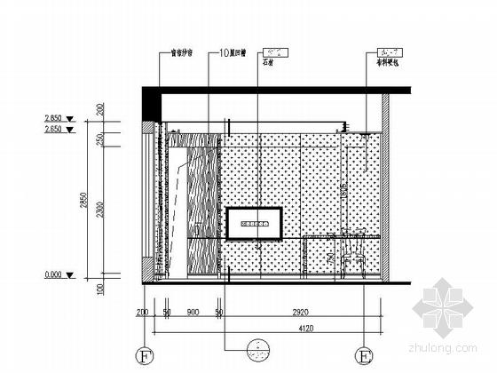 [深圳]奢华高端商务酒店VIP套房室内装修图 立面图