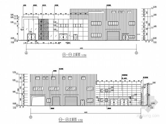 二(局部三层)钢框架结构东风日产研发中心结构施工图(含建筑图)