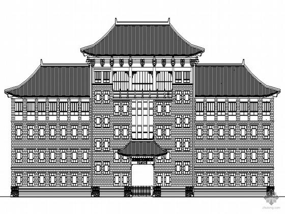 某四层仿古建中学教学楼建筑施工图