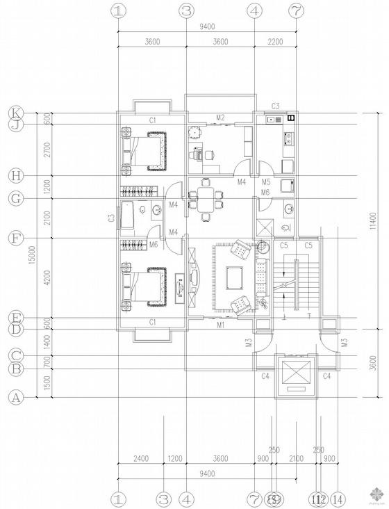 二室一厅一卫单户户型平面图(118)