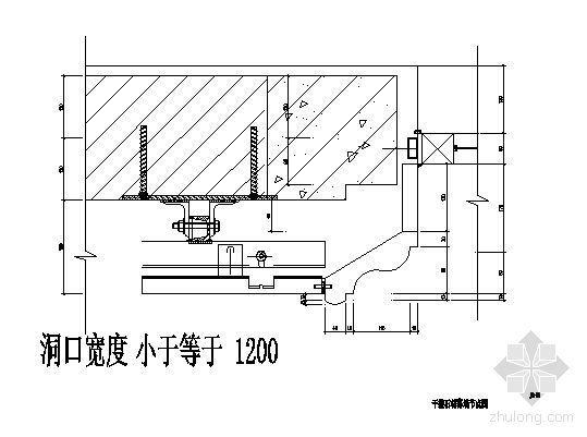 干挂石材幕墙节点图(洞口宽度小于等于1200)