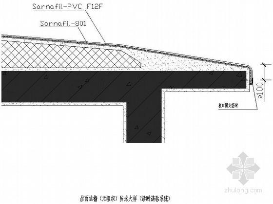 屋面挑檐(无组织)防水大样(渗耐满粘系统)节点详图