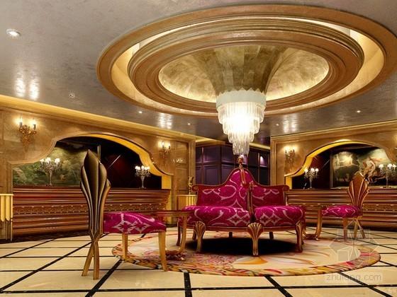 豪华装修大厅休息区3d模型下载