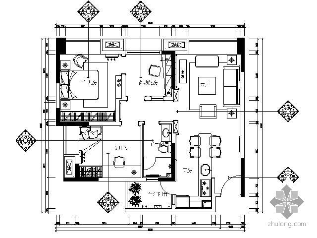 北欧风格小户型两居样板房施工图(含效果)